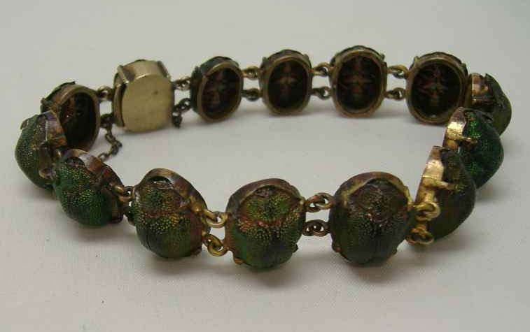 Art Deco Real Scarab Beetle Bracelet