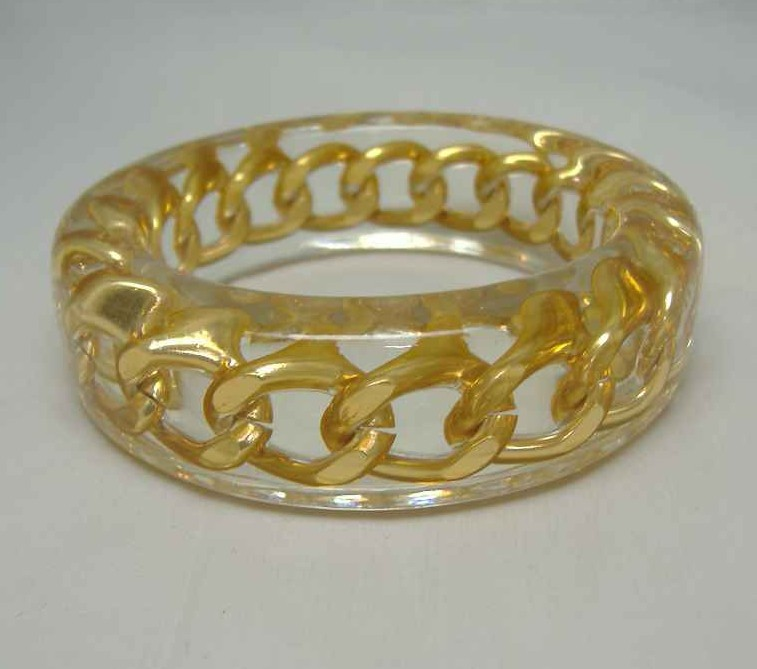 1980s Gold Clear Lucite Bangle