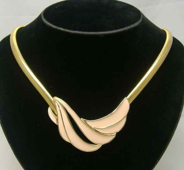 1980s Monet Pink Gold Enamel Necklace
