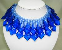 £150.00 - Vintage 60s Spectacular Cobolt Blue Lucite Drop Wide Collar Necklace