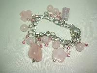 £28.00 - Beautiful Real Pink Quartz Bead and Crystal Glass Bead Charm Bracelet