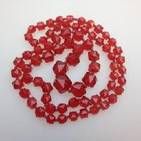 £40.00 - Vintage 30s Long Red Crystal Glass Bead Necklace Stunning Quality!