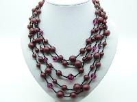 £34.00 - Vintage 50s Five Row Maroon Red Black and AB Pink Glass Bead Necklace