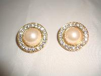 £19.00 - 1980s Round Faux Pearl & Diamante Clip On Gold Earrings