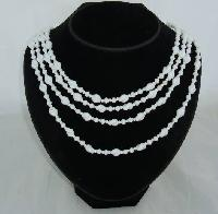 £18.00 - Vintage 50s Graduating Four Row White Glass Twist Bead Necklace WOW