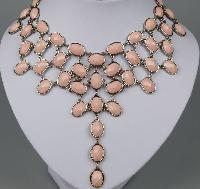 £31.00 - Amazing 1960s Style Festoon Bib Drop Pink Lucite Silver Link Necklace