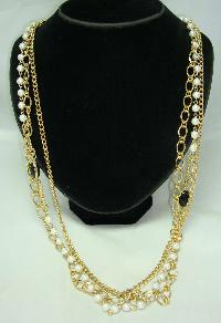 £17.00 - Vintage 80s 3 Row Gold Chain & Faux Pearl Bead Necklace