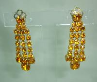 £27.00 - 1950s Sparkling Citrine Amber Diamante Dangle Tassel Clip On Earrings