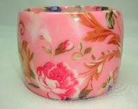 Stunning Wide Chunky Pink Flower Print Design Acrylic Cuff Bangle Fab!