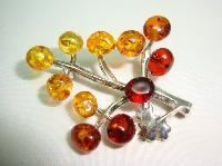 £27.00 - Beautiful Sterling Silver Two Tone Amber Bunch of Grapes Brooch