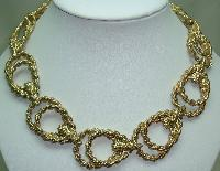 £34.00 - Vintage 80s Chunky Fancy Double Link Textured Gold Statement Necklace