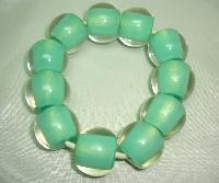 £19.00 - Unusual and Quirky Chunky Green and Clear Lucite Bead Stretch Bracelet