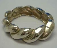£12.00 - Vintage 80s Wide Chunky Silver Twist Style Clamper Bangle Bracelet