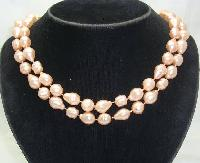 £8.00 - Vintage 50s Pink Baroque Faux Pearl Bead Necklace WOW