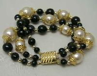 £19.00 - Vintage 80s Fab 3 Row Black Glass and Faux Pearl Bead Gold Bracelet
