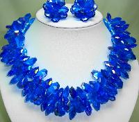 £128.00 - 1960s Amazing Wide AB Blue Lucite Cluster Bead Necklace and Earrings