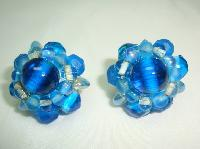 £19.00 - 1950s Stunning Blue Glass Bead Flower Clip On Earrings