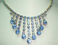£68.00 - Vintage 50s FAB Blue AB Diamante Festoon Drop Necklace