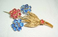 £17.00 - Vintage 30s Czech Blue & Pink Crystal Flower Brooch