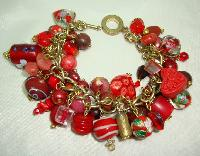 £36.00 - Fabulous Assorted Red Murano Glass Bead Cluster Charm Bracelet Wow!
