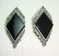 £36.00 - Art Deco Style Sterling Silver Black Onyx + Marcasite Clip on Earrings