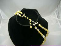 1950s Chunky 2 Row Yellow & Cream Lucite Bead Necklace